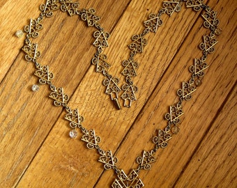 Filigree and Crystal Gold Geometric Vintage Long Necklace