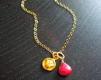 Gold Lotus and Ruby Necklace