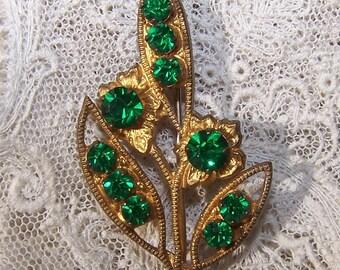 Emerald Green Vintage Rhinestone Leaf Pin