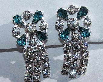 Vintage Teal and White Rhinestone Dangle Screwback Earrings
