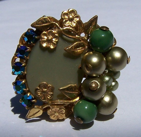 On Reserve For Jean-Single Vintage Earring For Parts With Blue Aurora Borealis Rhinestones, Green Pearl Cluster, Gold Leaves