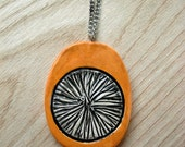 Yellow Ceramic Necklace with Black and White Striped Texture