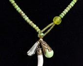 Claw Necklace Rare Gaspeite Faceted Beaded Lariat Style with Charms of Green Amethyst and shell  Improves spiritual connection