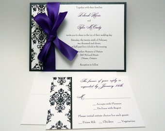 Dark Purple Wedding Invitation, Purple Invitations, Damask Wedding Invite, Purple Damask Wedding Invitation - The Jaime Invitation Sample