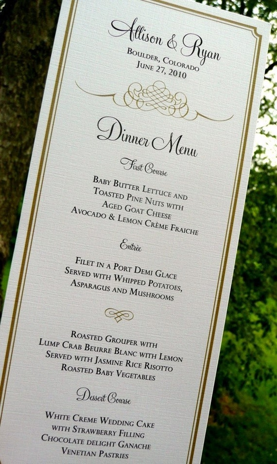 Wedding Menu Cards / Flourish Menu Design / Gold Blue Red