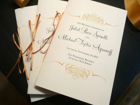Wedding Program Booklet Gold Programs Jewish