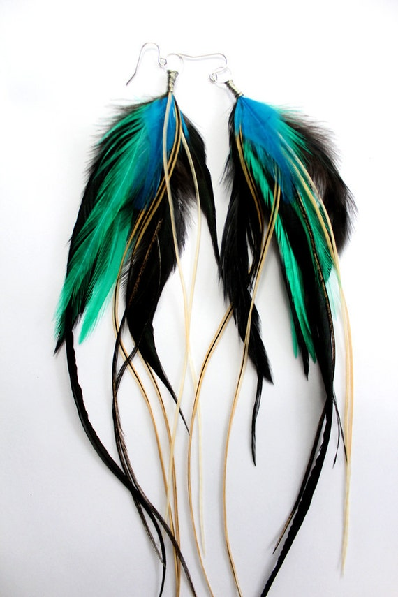 Turquoise Feather Earrings - Extra Long Feather Earrings