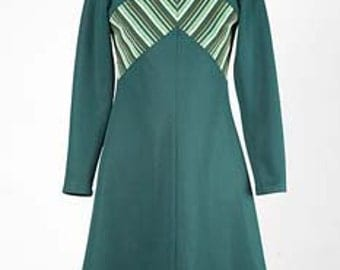 70s vintage Ultra Mod A line Forest green dress