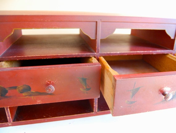 SALE - 1920s Novelty Secretary Desk Cubbies and Drawers by Amfurnoco