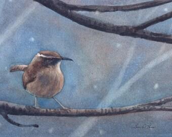 Carolina Wren Watercolor Painting - Fine Art Archival Print - Limited Edition Bird Art by Laura D. Poss