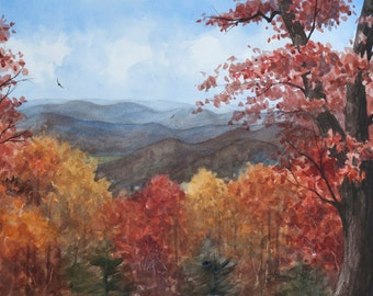 Blue Ridge Afternoon Mountains Landscape Watercolor Painting - Fine Art Archival Print- Signed Giclée- Limited Edition Art by Laura D. Poss