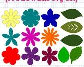 14 Flower and Leaf SVG DXF Set
