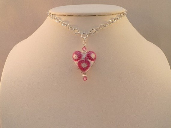 Venetian Millefiori Glass Pink Heart Princess Necklace Sterling Silver