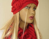 Winter Hat - Red Hat, Beret - Claret Red Cable Adult Beanie Hat with Crochet Red Flowers - Gift for Her - Ready for Shipping