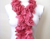 Scarf - Pink and Fuschia Frilly Scarflette, Neck Tissue, Rag, Neckwarmer, Foulard - Gift for Her - READY TO SHIP