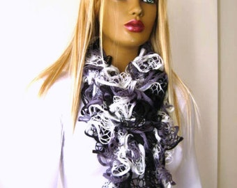 Grey Black and White Frilly Scarf, Scarflette, Neck Tissue, Rag, Neckwarmer, Foulard - READY FOR SHIPPING - Mothers Day Gift for Her