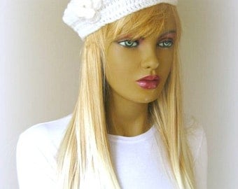 White Hat, Beanie, Beret - Painter Hat with Pretty Flower - Gift for Her - Ready for Shipping