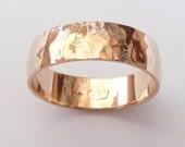 Men rose gold wedding band hammered wedding ring 6mm wide ring women hammer shiny finish