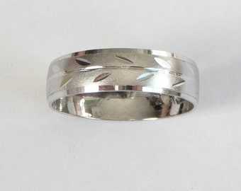 White gold wedding ring women  men's wedding band with leaves 5mm wide