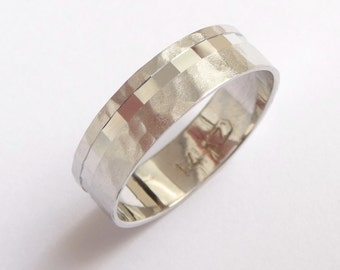 White gold Wedding Band Wedding Ring with an off centered line of cubes hammered men women