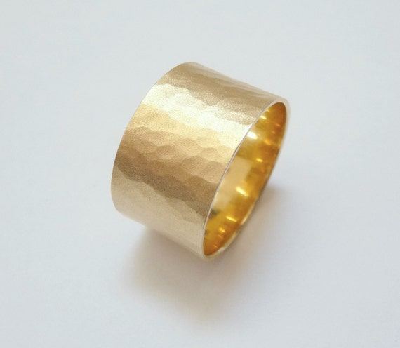 Yellow gold wedding band  hammered wedding ring 12mm wide wedding ring for men and women