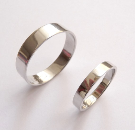 White gold wedding band set women wedding ring men wedding band flat shiny