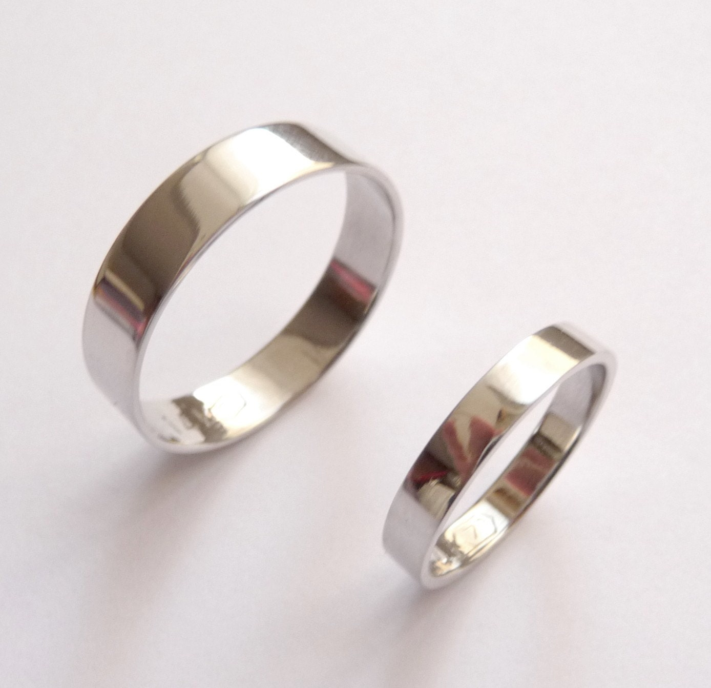 White gold wedding band set women men wedding band hammered