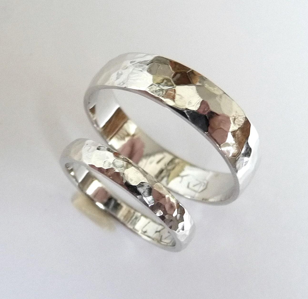 white gold wedding band set men women mens hammered wedding bands men women wedding ring hammered wedding band polished shiny zoom