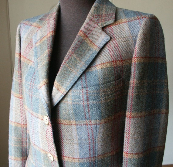Vintage 70's Blazer,  Plaid Wool, Gray, Khaki, Red, Classic Menswear Style,  Women's Size Small to Medium