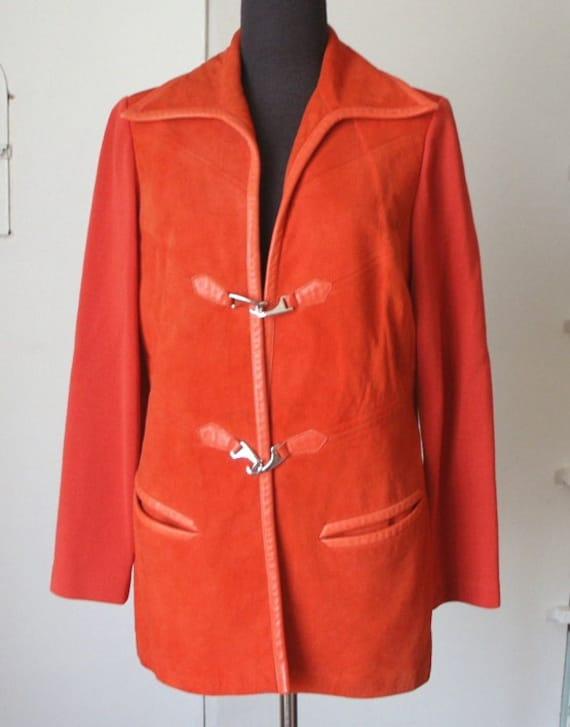 Mod Vintage 70's Bright Orange Jacket, Suede and Wool Knit, Leather Trim, Women's Medium