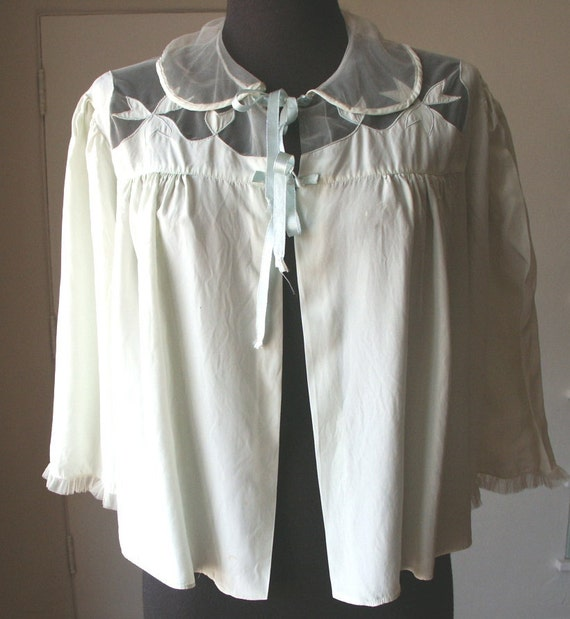 Vintage 50's Blouse, Bed Jacket, Top, Mint Green Pastel, Women's Medium to Large