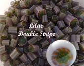 Lilac Double Stripe CoE 104 glass 12 pcs handmade picture murrini, lampwork supplies