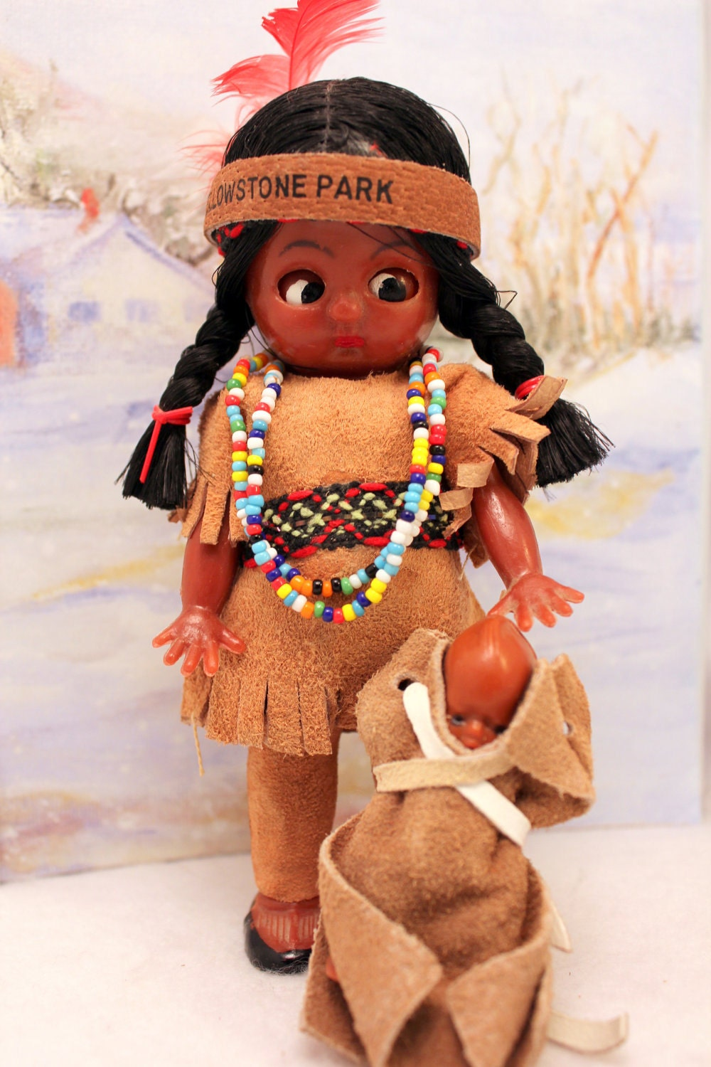 indian costume doll w baby native american yellowstone. Black Bedroom Furniture Sets. Home Design Ideas