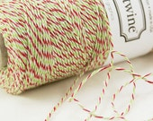 Bakers Twine 240 yard spool - CHRISTMAS Red, Green & White Bakers Twine String for crafting, gift wrapping, packaging
