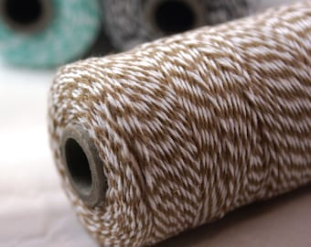 BOLD Bakers Twine 240 yard spool CAPPUCINO BROWN & White Twine String for crafting, gift wrapping, packaging, invitations