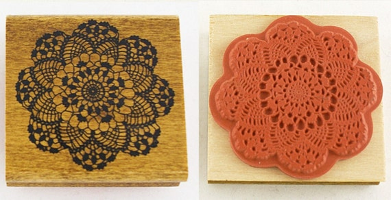 Large Flower Pattern Lace Doily Japanese Wood Stamp