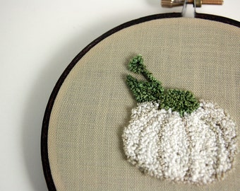 Ready to Ship! White Pumpkin Punch Needle Embroidery Hoop Art. Autumn, Fall Decor. White, Sage Green, Brown.  Eco Friendly by HarpandThistle