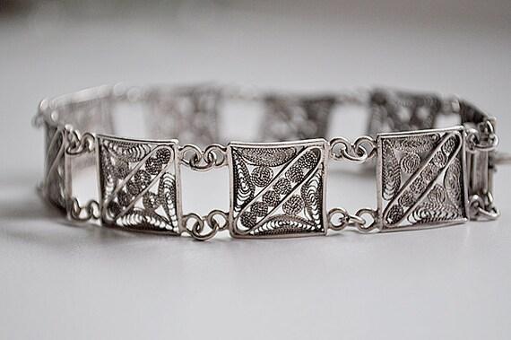 Vintage Silver Filigree Bracelet