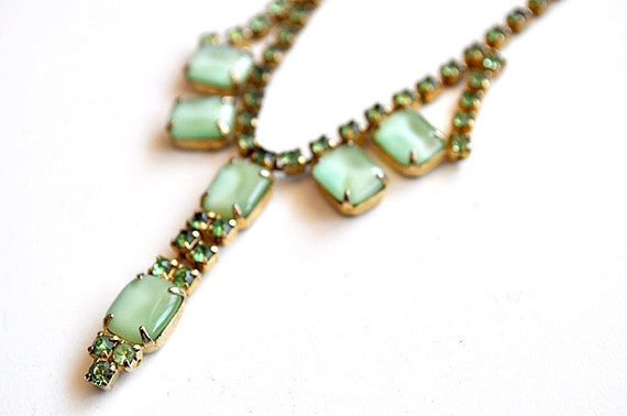 Green Rhinestone and Moonstone Choker Necklace