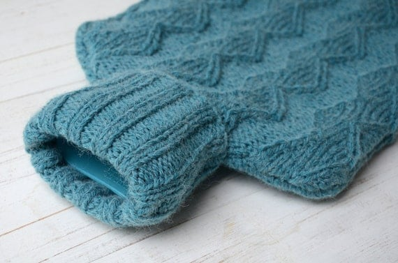 Knitted Hot water bottle Cover in Teal  Zig-Zag Texture Pattern