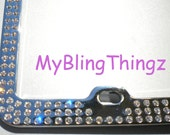 3 Rows Clear Crystal BLING Inset / Embedded Rhinestone License Plate Frame made with Swarovski Elements