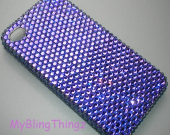 For Apple iPhone SE 5 5S - HELIOTROPE Luxe Rich Purple Crystal Diamond Rhinestone BLING Back Case made with 100% Swarovski Elements