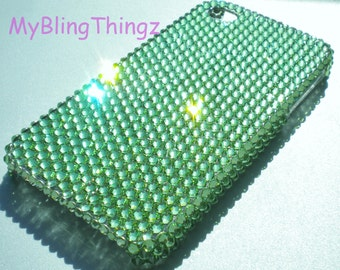 Lime Green Peridot Crystal Diamond Rhinestone BLING Back Case for Apple iPhone 4 4G 4S handmade with 100% Swarovski Elements