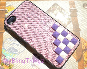 Pink and Purple Pyramid Studs on Baby Pink Glitter Sparkle Bling Case Cover for Apple iPhone 4 4G 4S AT&T Verizon Sprint