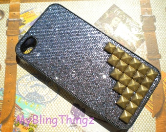 Bronze Metal Brass Pyramid Studs on Black Glitter Sparkle Bling Case Cover for Apple iPhone 4 4G 4S AT&T Verizon Sprint