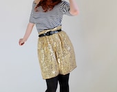 Gold Sequin Shorts. Hipster. Rocker. Boho. Glam. Dance. Summer Fashion. Party. Size Large