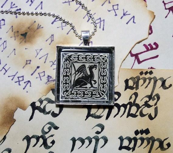 Dragon pendant necklace - block print design