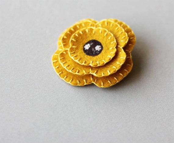 Mustard Golden Yellow Flower Brooch Felt Pin