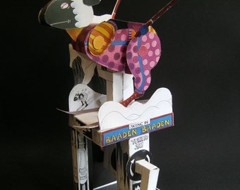Skiing Sheep card cut out automata kit.