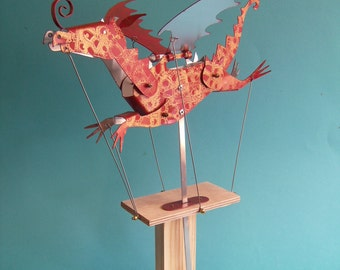 Large Painted Aluminium Dragon Automata